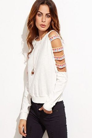 white ladder cutout sleeve sweatshirt