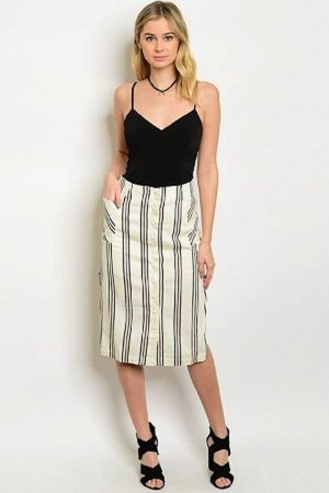 ivory black rust skirt
