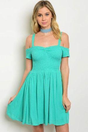 5d052efa4de1 Spearmint Off Shoulder Dress | Marsha's Clothing