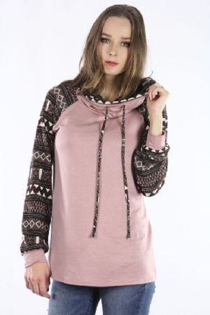 French terry turtle neck tunic