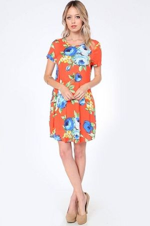 floral print pocket swing dress