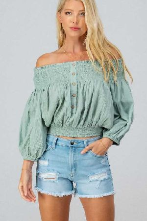 Ruffle smock crop top