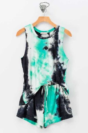 Tie dye sleeveless top short set