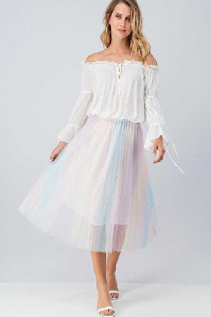 Sheer Mesh Multi Color Pleated Skirt W Lining