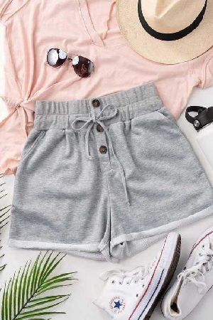 Elastic Band Waist French Terry Shorts