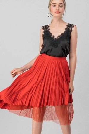 Pleated Asymmetrical Layered Flare Skirt