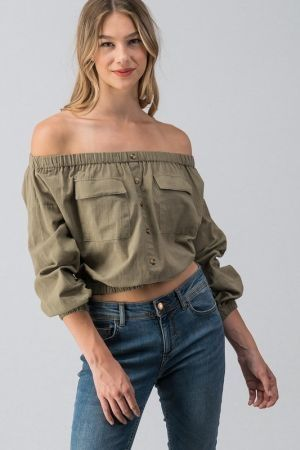 Buttoned front off shoulder top