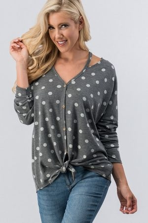 Cut out neck line polka dot long sleeve top