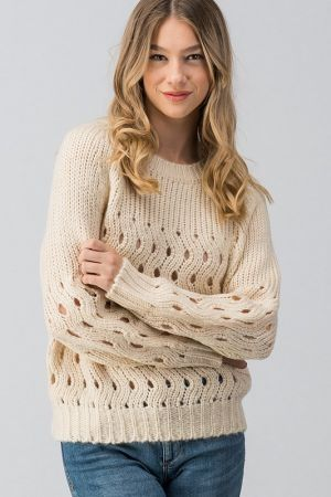 Hole patterned banded bottom knit sweater