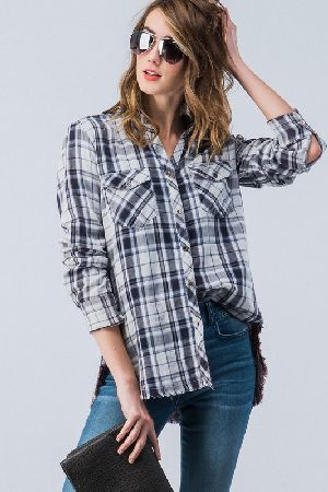 Plaid washed roll up sleeve button down shirt top