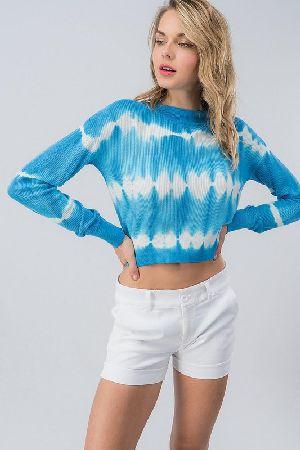 9edf60ae17b Tie dye long sleeve knit crop top - Trend Notes