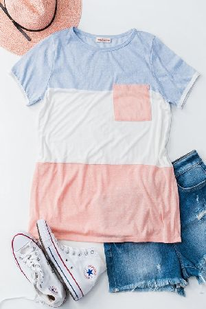 Triblend color block with pocket casual top