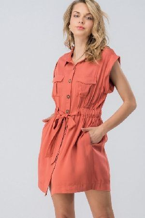 Button down sleeveless shirt dress