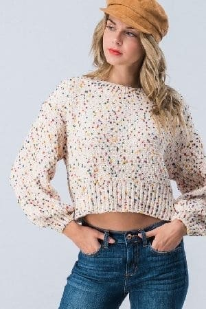 Cropped sweater with multi color cotton balls