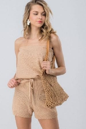 Waffle knit tube top waist band romper
