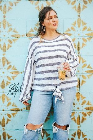 Striped Long Puff Sleeve Knit Top with a Center Waist Tie
