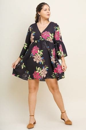 Floral Print Bell Sleeve V-Neck Babydoll Dress