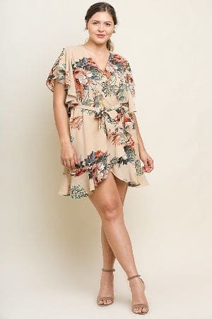 Floral Print Flutter Sleeve V-Neck Wrap Dress with a Waist Tie