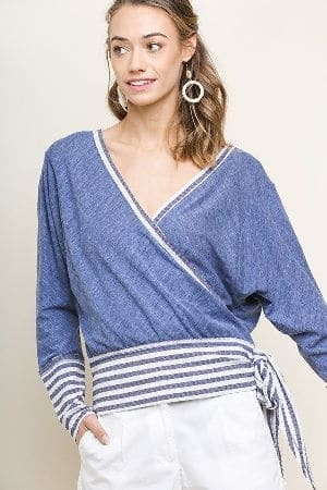 Long Sleeve Heathered Knit Low Back Surplice Top