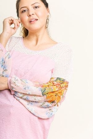 Sheer Floral Mixed Print Puff Sleeve Knit Round Neck Top