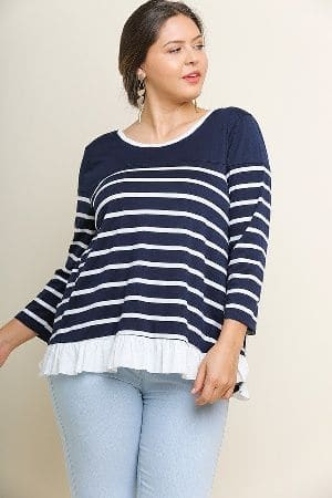 Striped Long Sleeve Ruffle Top with Back Drawstring