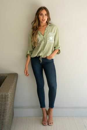 Distressed Foil Long Sleeve Roll Up Button Down Top