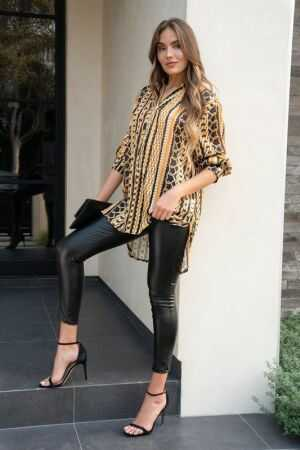 Print Long Sleeve Chiffon Henley Top