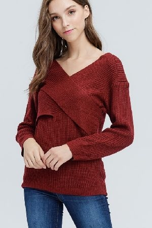 Crossover ribbed v neck sweater
