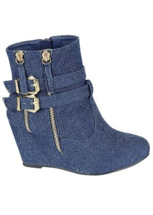 Wedge suede bootie with two zippers and two buckles