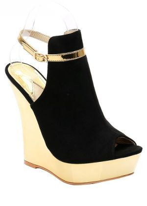 Suede metallic peep toe wedge with buckle strap