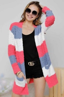 MULTI STRIPE POPCORN KNIT