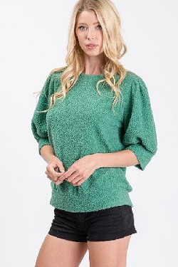Balloon Sleeve Shelpa Fleece Knit Solid Top