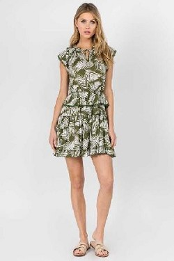 Leaf print mini dress