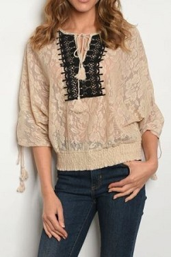Flutter sleeve embroidery detail blouse
