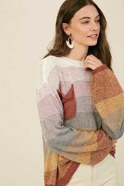 Multi color light weight pull over knit sweater