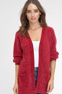 Puff sleeve chenille open cardigan