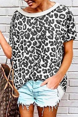 Leopard Print Loose Fit Casual Top
