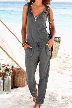 Sleeveless front zip up side pocket romper