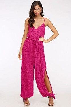 Tie-ankle jumpsuit with dramatic slits in textured woven fabric