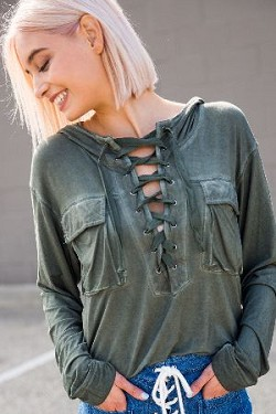 Detailed hoodie top with crochet lace up