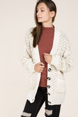 Diamond Knit Cardigan With Contrast Button Up