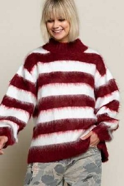 Distressed striped cozy sweater