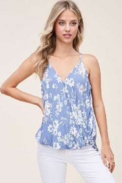 Surplus Wrap high Low floral tank Top
