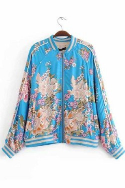Flower printed track jacket